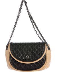 Chanel - Bicolor Graphic Half Moon Flap Bag Black - Lyst