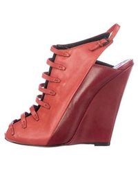 Narciso Rodriguez - Leather Cutout Wedges Coral - Lyst