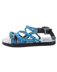 Louis Vuitton - Crocodile-trimmed Strap Sandals Blue - Lyst