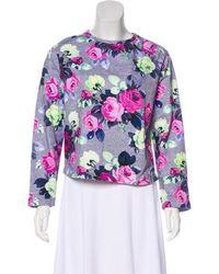Carven - Long Sleeve Floral Print Sweatshirt Grey - Lyst