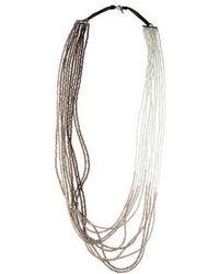 Brunello Cucinelli - Quartz, Agate & Adularia Ombre Multistrand Necklace Silver - Lyst