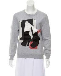 Carven - Textured Printed Sweatshirt Grey - Lyst