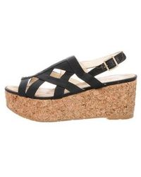 Chanel - Canvas Wedge Sandals - Lyst