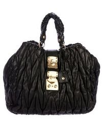 Miu Miu - Miu Matelassé Pleated Satchel Black - Lyst