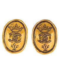 Chanel - Etched Cc Clip-on Earrings Gold - Lyst
