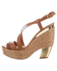d012f0d9994 Lyst - Miu Miu Miu Leather Strappy Sandals in Brown