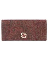 Etro - Paisley Leather Tri-fold Wallet Brown - Lyst