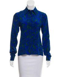 d20fb1aa87e10 Lyst - Stella Mccartney Silk   Wool Top in Blue