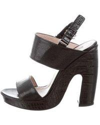 292693cd5a2 Lyst - Dries Van Noten Woven Leather Slide Sandals Black in Metallic