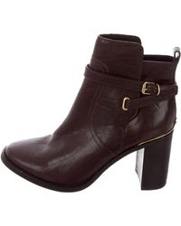 77b8984090a9 Lyst - Tory Burch Elina Leather Ankle Boots Gold in Metallic