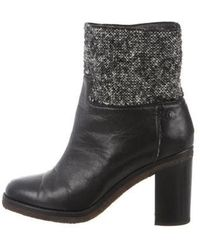 Chanel - Tweed-accented High-heel Boots - Lyst