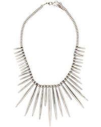 Rachel Zoe - Spike Collar Necklace Silver - Lyst
