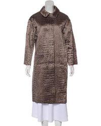 Nina Ricci - Silk Textured Coat Olive - Lyst