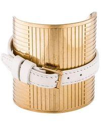 Elie Saab - Faux Leather Wrap Wide Cuff Gold - Lyst