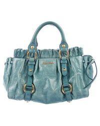 54df1011bb5b1 Miu Miu - Miu Vitello Lux Handle Bag Turquoise - Lyst