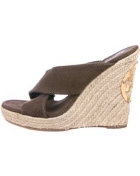 4f3bfe105d37 Tory Burch - Crossover Espadrille Wedges Brown - Lyst