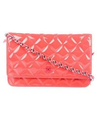 ea8e20ab49f5 Lyst - Chanel Patent Leather Cc Wallet On Chain Yellow in Metallic