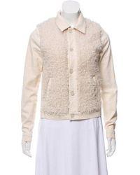 Mother - Faux Fur-accented Denim Jacket - Lyst