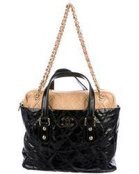 cbfd46dd2604 Lyst - Chanel Tweed Large Portobello Shopping Bag Black in Metallic