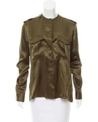Haider Ackermann - Silk Button-up Top W/ Tags Olive - Lyst