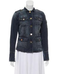 Tory Burch - Denim Stand Collar Jacket Blue - Lyst