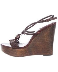 Dior - Platform Wedge Sandals Brown - Lyst