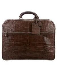 Valextra - Alligator Briefcase Silver - Lyst