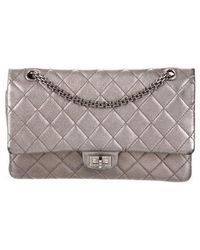 40785065fa4a Lyst - Chanel Reissue 227 Double Flap Bag Black in Metallic