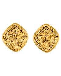 Chanel - Engraved Cc Clip-on Earrings Gold - Lyst