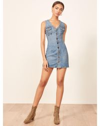 Reformation - Colby Sleeveless Stretch Denim Minidress - Lyst