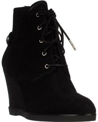 Michael Kors - Michael Carrigan Wedge Knit Cuff Lace Up Ankle Boots - Black - Lyst