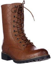 Kensie - Steva Lace-up Combat Boots - Cognac - Lyst