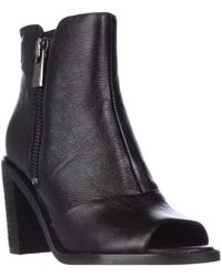 Kenneth Cole - Lacey Peep Toe Double Zip Ankle Booties - Black - Lyst