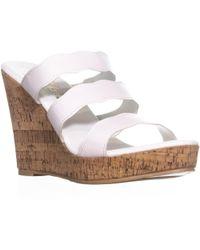 Callisto - Flure Triple Strap Wedge Sandals - Lyst