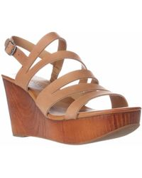 Lucky Brand - Marinaa Wedge Strappy Sandals - Clay - Lyst