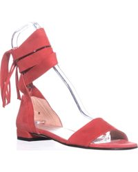 Stuart Weitzman - Corbata Lace Up Flat Sandals - Lyst
