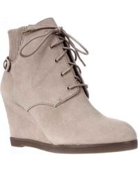 Michael Kors - Michael Carrigan Wedge Knit Cuff Lace Up Ankle Boots - Lyst