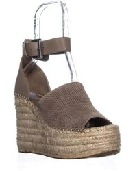 Marc Fisher - Adalyn Ankle Strap Wedge Peep Toe Sandals, Taupe Multi - Lyst