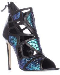 Alejandro Ingelmo - Odyssey Caged Cutout Peep Toe Heels - Turquoise/black - Lyst