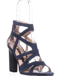 French Connection - Isla Strappy Heel Sandals, Navy Suede - Lyst