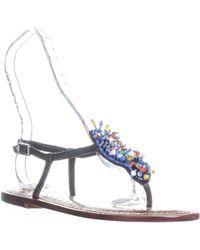 7438992cb8d1 Lyst - Sam Edelman Gabrielle Beaded Thong Sandals in Brown
