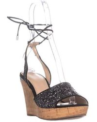 be535ae74 Lyst - Guess Womens Edinna2 Glitter Ankle Wrap Wedges in Black