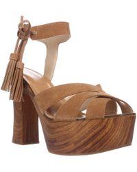 0ee6963bbe2e Guess - Prenna Platform Tassel Sandals - Dark Brown - Lyst
