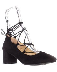 Wanted - Shoes Abby Lace Up Ankle Tie Chunky Heel Pumps - Lyst