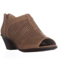 Easy Street - Steff Perforated Peep Toe Ankle Boots, Tan - Lyst
