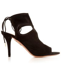 Aquazzura - Sexy Thing Suede Peep-toe Bootie Black - Lyst