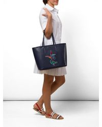 Lacoste - Embossed Leather Tote Bag - Lyst