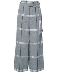 SUNO Cropped Plaid Wide-leg Pants