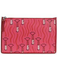 Valentino - Lipstick Print Leather Large Pouch - Lyst