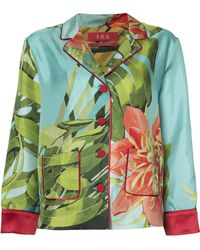 For Restless Sleepers - Fern Printed Silk Shirt - Lyst